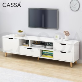 Cassa Luna 5 Feet 140cm TV Cabinet Entertaiment Unit Scandinavian-inspired (White/Maple)