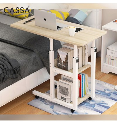Cassa Leslie Adjustable Bedside Breakfast Writting Laptop Table Bed Table Side Table With Wheels 80X40CM