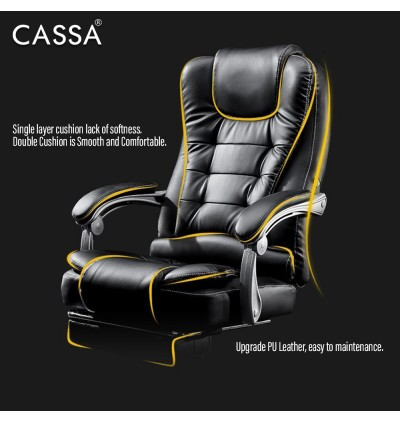 [UPGRADED IMPROVED VERSION] Cassa Massage Function Office Chairs Pu Leather Executive High Back Recliner Computer Desk Swivel Chair Black (Come with Foot Rest)