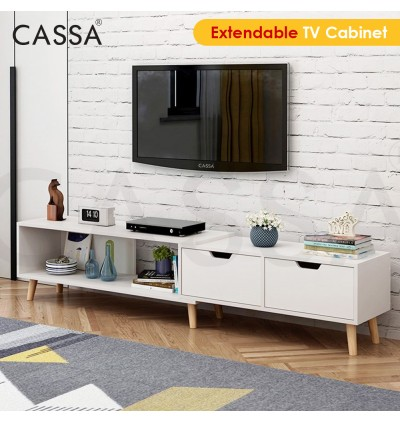 Cassa Wayne Transformable Extendable 4 Feet (130cm) to 6 Feet (178cm) TV Cabinet Entertaiment Unit Scandinavian-inspired