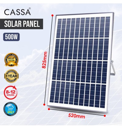 Cassa Hi Quality Led Solar [500W] Tempered Glass IP67 Waterproof Outdoor Spotlight Floodlight Fast Charging [ A-Level Solar Panel ] Usage Up to 8-12Hours Come with 180 Degree Rotation Bracket (1 Year Warranty)