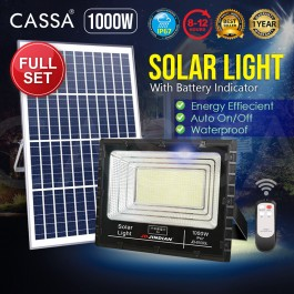 Cassa Hi Quality Led Solar [1000W] Tempered Glass IP67 Waterproof Outdoor Spotlight Floodlight Fast Charging [ A-Level Solar Panel ] Usage Up to 8-12Hours Come with 180 Degree Rotation Bracket (1 Year Warranty)