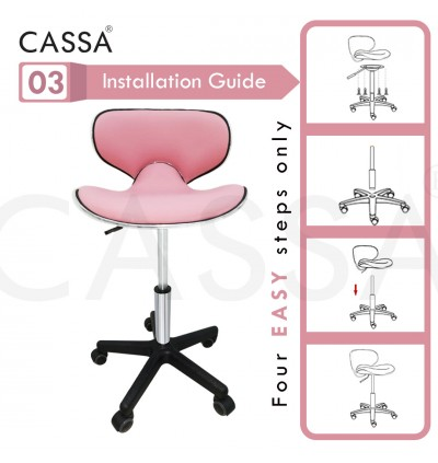 Cassa Ronin Pink Height Adjustable Make Up/Study/Dining/Office Swivel Chair with Heavy Duty Base Legs with Wheels and Lift