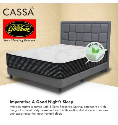 Goodnite 12 Inches Thick 3-ZONE POCKETED SPRING BIO- LATEX FOAM Queen Mattress (12 Years Warranty)