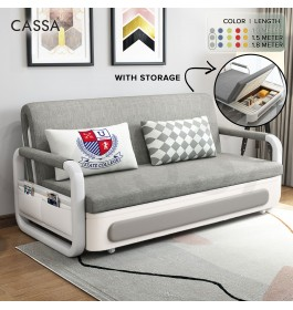 [FREE DELIVERY] Cassa CRV Premium Multifunction Modern Designed Fabric Sofa Bed with Pullable Single / Queen / King Size Mattress (With/Without Openable Storage Box) (Katil Bujang Kembar)