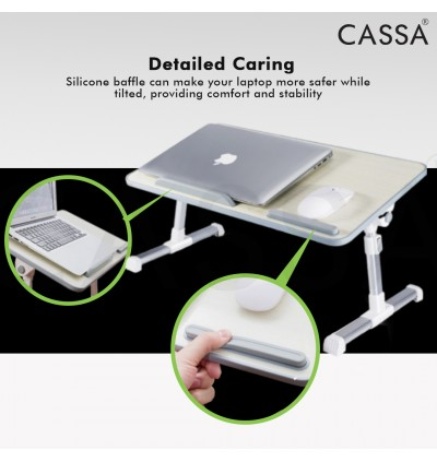 Cassa Pilot Foldable Brown/Pink/Maple Height Angle Flexible Adjustable Portable Laptop Bed Table Stand On Bed (Meja Katil)