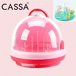 Cassa Multifunctional Household Plastic Baby Infant Portable Milk Bottle Tableware Storage Box Container Clamshell Organizer Cups Bowls Drying Rack with Anti-dust Cover Organizer For Bottles, Sippy Cups, Bowls, Spoons