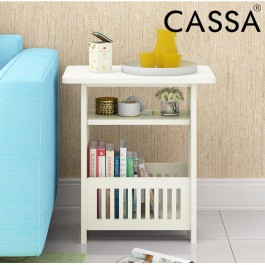 Cassa Lusso Coffee Magazine Rack Round End Side Table (White)