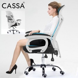 Cassa TLDO Ergonomic Style Massage Function Adjustable Reclineable Executive Office Chair Black White