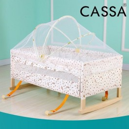 Cassa Baby Infant-To-Toddler Natural Wood Rocker Swing Bed Moses Basket come with Adjustable Mosquito Net Cover