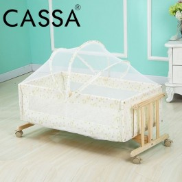 Cassa Cradle Baby Cot Infant-To-Toddler Natural Wood Rocking Swing Bed Moses Basket come with Adjustable Mosquito Net Cover