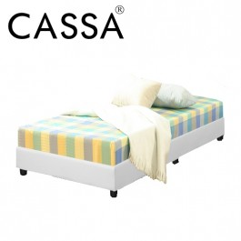 Cassa Super Single Size Rocher PU Heavy Duty Divan Bed Only (Dark Brown/White) - Wood Structure