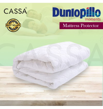 Dunlopillo King / Queen Washable Mattress Quilted Fitted Protector (Four flexible strips at corner)