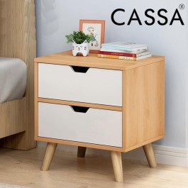 Cassa Lavio Wood End Table Modern Nightstand Sofa Side Table with 2-Drawer Storage Chairside Bedside Table for Bedroom Office