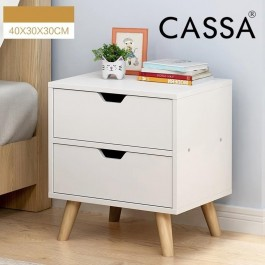 Cassa Lavio Wood End Table Modern Nightstand Sofa Side Table with 2-Drawer Storage Chairside Bedside Table for Bedroom Office (Full White)