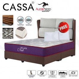 Aussie Sleep 10 Inches Thick Milan Italian Embroidery Designed (Foam block +Coconut Layering) Imported Knitted Fabric Top Single/Super Single/Queen/King Chiropractic Spring Mattress (Free Pillow)