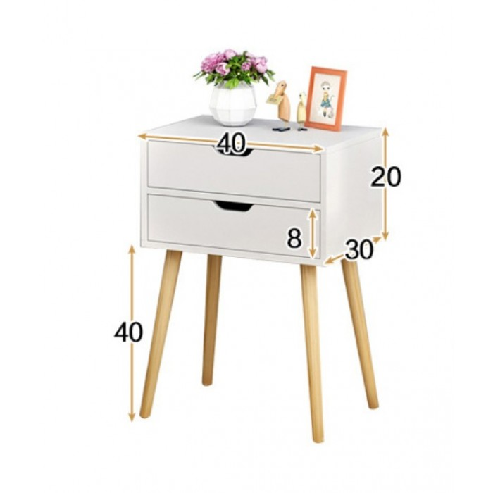 Modern Wood White Nightstand End Table Bedside Table Furniture w//2 Drawer