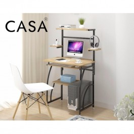 Casa Height Computer Desk PC Laptop Study Table Workstation with Keyboard Tray for Home Office Desk Compact Computer Table