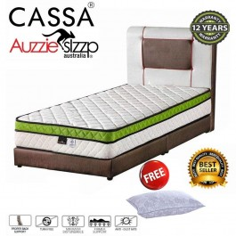 Aussie Sleep Australia Italia Sunno Chiropractic Spring Single/Super Single/Queen/King Mattress (4D 3 top Plush-Top)(12 Years Warranty)(ExportQualityupgrading)Free Pillow