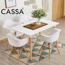 Cassa Eames Dining Set Square Table 120x60 cm together with 4 unit Eames Arm White Seat  Natural Wood Legs Chair