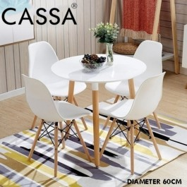Cassa Eames Stylish Dining Round Table 60 cm together with 4 unit Eames White Seat Natural Wood Legs Chair