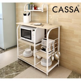 Cassa Microwave Cart Stand 90cm Kitchen Utility Storage 3-Tier+3-Tier for Baker