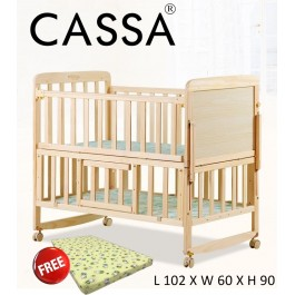 Casa Ana 2 (Size:104cmx64cm) Height Cradle Baby Cot Bed Wooden Rocking (Natural)