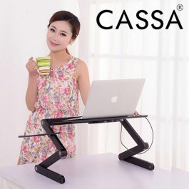 Cassa 360 degree Folding Adjustable Laptop / Computer / Notebook Glossy Table Stand Bed Lap Sofa Desk Tray + Ventilation Opening Hole + Mouse Pad (Black)
