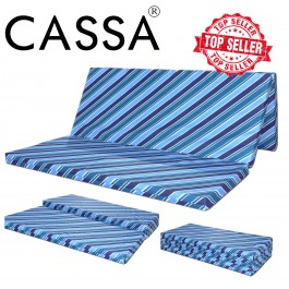 Cassa Deluxe Trifold Foam Foldable Lightweight and Portable Queen Mattress (Multi-Purpose Yoga and Exercise Mat Compact and Easy Storage)