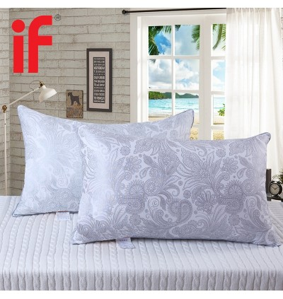 Casa Dreamy Polyester Soft Feel Pillow 42x70x12CM With High Quality Smooth Soft Florish pattern Fabric White Grey (1 Unit)