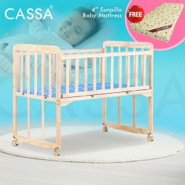 "[UPGRADED 8 Wood Legs Support] Cassa Cradle Baby Cot Baby Swing Rocking Bed Natural Solid Wooden with Cassa 4"" Rubber Foam Baby Mattress"