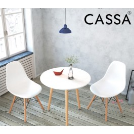 Cassa Eames White Stylish Hi-Tea / Dining Set (Round Table 60 cm together with 2 unit Eames White Seat Natural Wood Legs Chair)