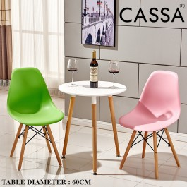 Cassa Eames Kitchen Dining or Coffee Round Table White Modern Leisure Wooden Tea Table Office Conference Pedestal Desk 60cm/80cm (Table Only)