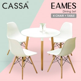 Cassa Eames White Modern Leisure Kitchen Dining Tea Office Meeting Table Pedestal Desk Round - Table Only (60cm/80cm)
