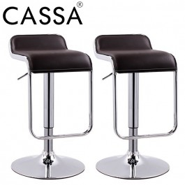 Cassa Moway Square Seat Design Swivel Bar Stool Chair Counter Kitchen (White/Black) Set Of 2