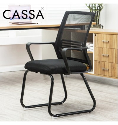 Cassa Office Side Chair Visitor Chair Normad 3 with Grey Mesh Back Beige White/Black