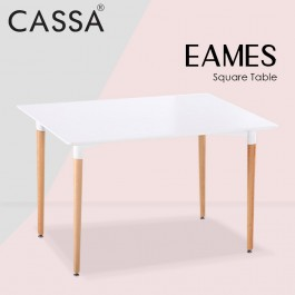 (Table Only)Cassa Eames Rectangular White Dining Table Only With Natural Wood Legs (120x60cm)