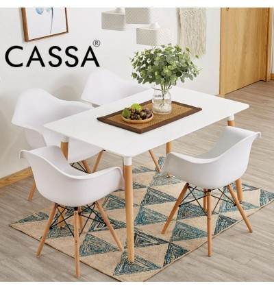 (Table Only) Cassa 4 Feet Eames Rectangular White Multipurpose Dining Table Designer Study Writing Table With Natural Wood Legs (120x60cm) Meja Makan Meja Tulis