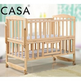 Cassa Ana 2 (Size:104cmx62cm) Height Cradle Baby Cot Bed Wooden Rocking (Natural)