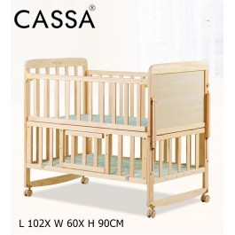 Cassa Ana 3 Adjustable Height Cradle Baby Cot Bed Wooden Rocking (Natural) (TWO LENGTH OPTION: 102CM/120CM)