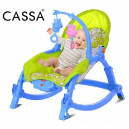 Cassa Super Big+Comfortable Baby/Newborn-to-Toddler Portable Bed or Rocker (Blue Frame with Green Fabric Cover) - Back Adjustable