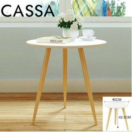 Cassa Concepts Oslo Round End Coffee Table/ Side Table (White-40CM/White Purplish-35CM)