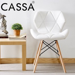 Cassa Eames Chair White/Black Faux Leather Cushion Seat Natural Wood Legs Chair