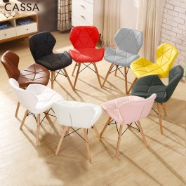 Cassa Eames Chair White/Black/Coco/Yellow/Red/Pink/Grey Faux Leather Cushion Seat Wood Legs Designer Desk Chair Dining Chair Cafe Home