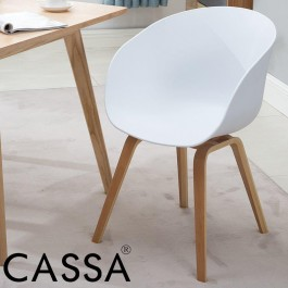 Cassa Designer Eames Arm Rest White Seat with Natural Wood Coated Metal Legs Chair