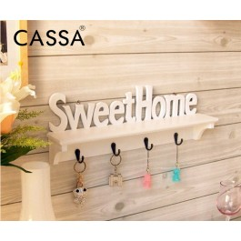 Cassa Sweet Home Wall Decorative Clothes Hook Rack Wall Mounted Carved Shelves Key Storage Hanging Holders Kitchen Organizer