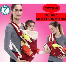Casa 10 in 1 Multifunctional Portable Soft Structured Baby Hip Seat Carrier- Red