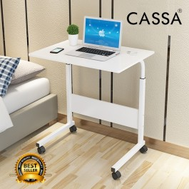 [BIGGER SIZE] Cassa Sevil Mobile Height-Adjustable Table 80cmX40cm with Wheels Laptop Desk Only (Maple/White)