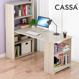 Cassa Lambo 120x 45cm PC Laptop Study Office Computer Desk Table with Book Shelf 5 Tiers (Maple/White)