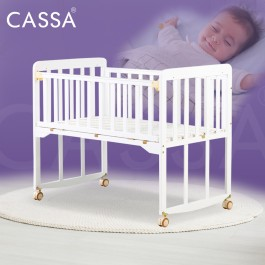 [UPGRADED 8 Wood Legs Support] Cassa Cradle Baby Cot Baby Bed Natural Solid Wooden Standing Still with Rollers/Rocking without rollers (Natural/White Colour)